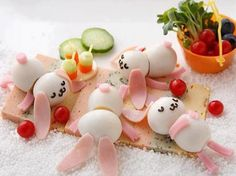 boiled eggs into bunnies
