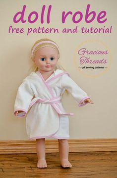 Doll Robe DIY Tutorial and FREE Pattern! Nothing says comfortable like snuggling up in a comfy fleece robe and now your dolly can join you too! Today I am sharing with you a free pattern for robe that fits American Girl (r) and other 18″ dolls. This robe would make a perfect Christmas gift or stocking stuffer, and goes really well with the doll sized fleece pants.