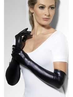 Gloves, Wet Look - Gloves Black Smiffys Fancy Dress