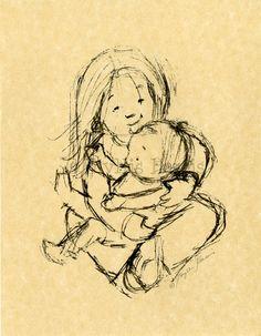 Children's Vintage Art Print - Big Sister sketch study. $20.00, via Etsy.