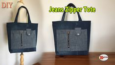 Please click the link for tutorial Diy Tote Bag, Reusable Tote Bags, Bag Jeans, Diy Bags Tutorial, Vídeos Youtube, Denim Ideas, Recycled Fashion, Bag Patterns To Sew, Fabric Bags