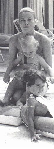 Princess Grace with little Caroline and Albert