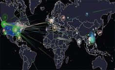 Norse real-time hacking map, showing a coordinated attack from China towards the US