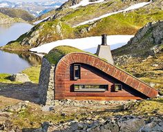 Small isolated cabins in Norway can only be reached on foot or on horseback Inhabitat -… - Architecture Organique Ideas De Cabina, Patio Roof Covers, Architecture Organique, Pergola, Glamping, Eco Architecture, Little Cabin, Earthship, Tiny House Plans