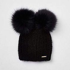 7320007b8beff Black faux fur double pom pom beanie - Hats - Accessories - women