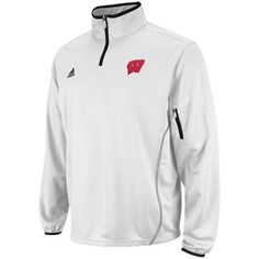 adidas Wisconsin Badgers 2012 Sideline Quarter Zip Pullover Jacket -  White (Mens S or M)