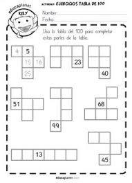 tabla del 100 -fichas GRATIS y ejercicios números