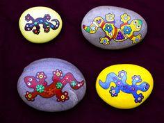lizards, painted rocks