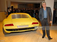 Lamborghini Miura concept car and Jay Leno during Automobili Lamborghini Worldwide Debut Party at The Museum of Television & Radio in Beverly Hills, California, United States.