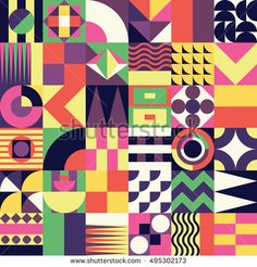 Contemporary geometric mosaic seamless pattern with a vibrant color scheme, repeat background with rich and modern shapes, surface pattern design for web and print - raster version