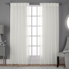 ATI Home Belgian Linen Look Sheer Curtain Panel Pair w/ Pinch Pleat Top