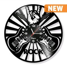 Uhren - ROCK Schallplatte Wanduhr - Gitarre Uhr - ein Designerstück von Vinyra bei DaWanda