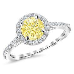 Carat White Gold Twisting Infinity Gold Diamond Engagement Ring w/ 1 Carat Blue Diamond Yellow Diamond Engagement Ring, Promise Rings For Her, Beautiful Wedding Rings, Ruby Jewelry, Jewellery, Jewelry Trends, Round Diamonds, White Gold, 1 Carat