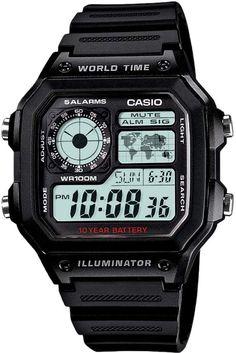 Vintage Watch Casio Men's World Time Digital Chronograph Watch - - Casio Digital, Mens Digital Watches, Army Watches, Sport Watches, Best Watches For Men, Cool Watches, Retro Watches, Casio Vintage, Mans World