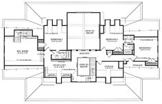 Colonial Country Farmhouse Plantation House Plan 86143 Level Two