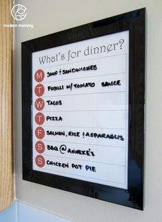 Modern Mommy: Make It Monday: Erasable Meal Planner