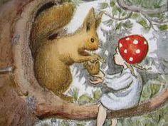 elsa beskow illustration with squirrel