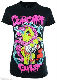 POIZEN CUPCAKE CULT ZOMBIE PONY T-SHIRT GOTH EMO PUNK UNICORN NULTICOLOURED BONE #CupcakeCult
