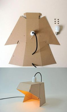 Build your own cardboard table lamp! And when not necessary … turn off the light! Cardboard Design, Cardboard Furniture, Cardboard Crafts, Diy Furniture, Paper Crafts, Coaster Furniture, Pliage Tole, Mobil Origami, Origami Lamp