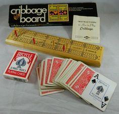 VTG Lowe #1503 Cribbage Board Wood Pegs Instructions Box USA 1968 Bicycle Cards  #ESLoweCompanyIncNewYorkNY