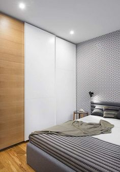 sliding doors bedrooms with fitted wardrobe white wood recessed ceiling lights