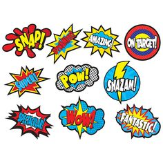 Superhero Sayings Accents - Use this decorative artwork to dress up classroom walls and doors, label bins and desks, or accent bulletin boards. Each piece is approx. 30 pieces per pack. Superhero Classroom Door, Superhero Bulletin Boards, Classroom Walls, Classroom Displays, Superhero Party, Classroom Themes, Superhero School Theme, Batman Party, Superhero Kindergarten