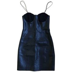 Leather mini dress SAINT LAURENT (3.485 BRL) ❤ liked on Polyvore featuring dresses, blue mini dress, mini dress, short leather dress, blue color dress and blue dress