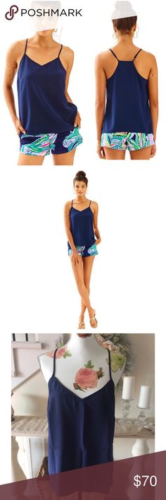 Lilly Pulitzer Silk Dusk Tank True Navy NWT Brand new with tags! Product details Find sophisticated simplicity with this spaghetti strap tank top. In solid silk and with a graceful racerback and adjustable straps, this silk tank camisole is destined to become your go-to top to dress up any summer outfit. In fabulous Lilly shades, you're sure to find a Dusk for every occasion. - Sleeveless Spaghetti Strap Racer Back Tank Top With Adjustable Straps. - Fitted At Bust, Loose At Sweep. Finished…
