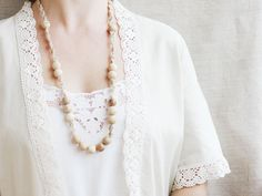 Long wooden necklace Natural crochet jewelry Boho necklace Linen jewelry Neutral $16