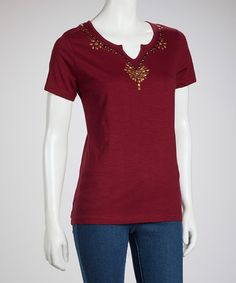 Take a look at this Concord Plum Embellished Short-Sleeve Top by Fresh on #zulily today! $11 !!