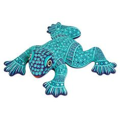 Ceramic wall adornment, 'Spotted Frog' - Handcrafted Ceramic Turquoise Frog Wall Art from Mexico$52.99 + $7.95 ship 8x9+