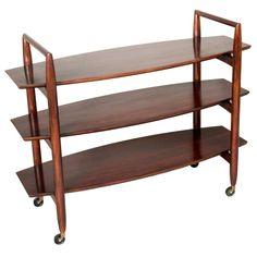 Three Tier Rolling Shelf by TH Robsjohn-Gibbings for Widdicomb c1950's