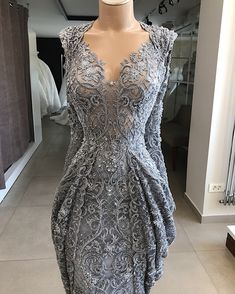 "Dress by-Lumnije Krasniqi ""Shades of Gray""collection Prom Dresses With Sleeves, Nice Dresses, Couture Dresses, Fashion Dresses, Idda Van Munster, Best Party Dresses, Kebaya Dress, Chic Dress, Beautiful Gowns"