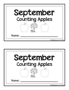 Four Differentiated September/Apple/Fall Themed - Emergent Reader (Cut and Paste Apples (traceable/non-traceable digits and words 1-10))