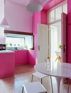 pink and white kitchen - modern white kitchen