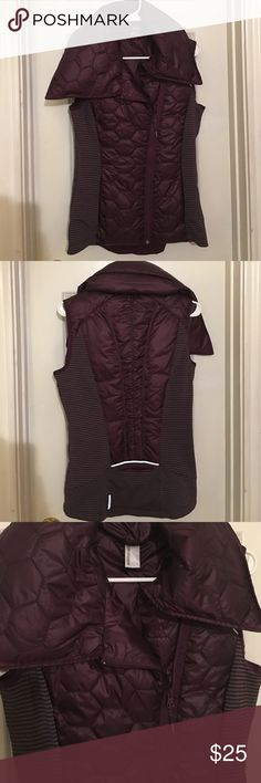 Down Feather Plush Vest Dark Purple and Grey, never worn, like-new condition, has front pockets as well as a pocket on the back (all fully functional). See pictured tag for material descriptions. VERY comfortable! Mondetta Sweaters