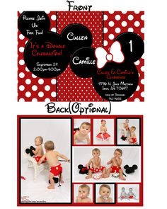 Minnie Mouse or Mickey Mouse Custom Digital Birthday Party Invitation. $16.00, via Etsy.