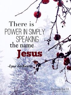 """I just said His name over and over. Jesus, Jesus, Jesus. What a powerful reminder to us all. No matter what we are facing today, there is such power in simply speaking the name, Jesus."" ~ Lysa TerKeurst    