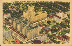 Air view of General Motors, Fisher Building and Art Center Building, Detroit, Michigan.