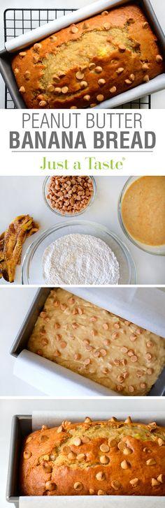 Peanut Butter Banana Bread #recipe from justataste.com