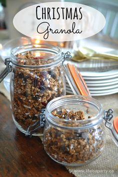 Homemade Granola -the perfect gift for Christmas: make cranberry and mixed fruits and nuts granola , or chocolate chip and coconut granola for the holidays.