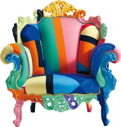 《REMIX THE OLD & NEW》 誰能想到巴洛克華麗風的鏤空雕花能被如此演譯?對比強烈的色塊充斥,看似凌亂但卻又渾然天成,由Alessandro Mendini 操刀設計的椅子不僅坐起來舒服,更讓人活力十足,現代摩登的大膽用色和古典元素碰撞出新的火花,這沙發不再是沙發,而是在同時向古典與現代致敬。
