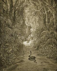 Gustave Doré, Satan sous la ferme d'un serpent entre dans le Paradis (1868)
