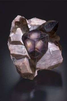 Fluorite with Smoky Quartz - Alien eye pocket, Colorado, USA