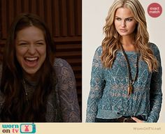 Marley's blue pointelle sweater on Glee.  Outfit details: http://wornontv.net/15778/