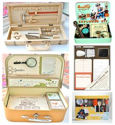 Kits for Kids - I did homemade versions of several of these when my sons were young by gathering items in plastic lunchboxes - like the explorer's kit, art supplies, pirate kit, etc. Your little one can grab a box and play pretend to his/her heart's content.