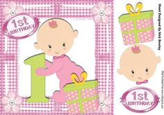 Little baby Girl with her present 1st Birthday 8x8 on Craftsuprint - Add To Basket!