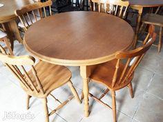 Eladó Kinyitható kerek asztal: Eladó egy új, rusztikus stílusú, oválissá bővíthető, pácolt tölgy ebédlőasztal. Méretei: az átmérője 115 cm, a vendéglap 50 cm.