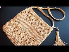 Tissue Making mit Papierband - Nazlı Top - - Tissue Making mit Papierband - Nazlı Top Crochet Clutch, Crochet Purses, Crochet Bikini, Crochet Bags, Crochet Cross, Free Crochet, Knit Crochet, Hand Knitting, Knitting Patterns