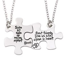 34 Impossibly Cute Friendship Necklaces Your BFF Will Totally Love - Bestfriend Shirts - Ideas of Bestfriend Shirts - A pretty pair of puzzle heart necklaces thatll let you carry a piece of your best friend at all times. Bff Birthday Gift, Birthday Gifts For Best Friend, Best Friend Gifts, Gifts For Friends, Best Friends, Best Friend Things, Friends Forever, Bff Necklaces, Best Friend Necklaces